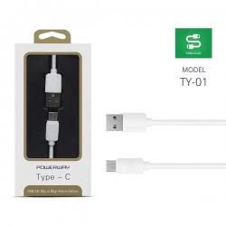 POWERWAY TY-01 2000MA TYPE-C كبل موبايل واحد متر